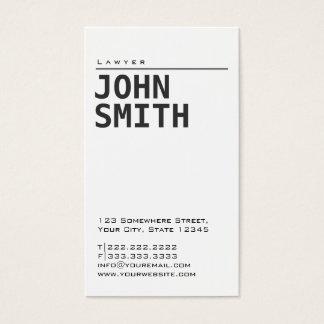 Cartão de visita branco liso simples do advogado