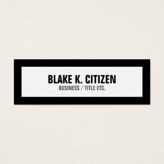 Cartão de visita branco magro com beira preta