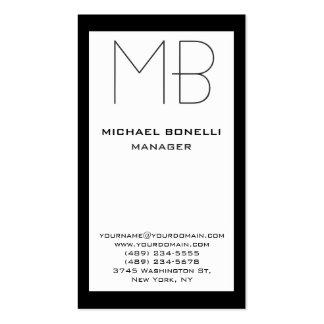 Cartão de visita branco preto vertical do monogram
