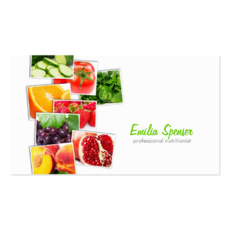 Cartão de visita branco simples do nutricionista