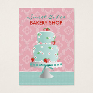 Cartão de visita C do bolo da morango