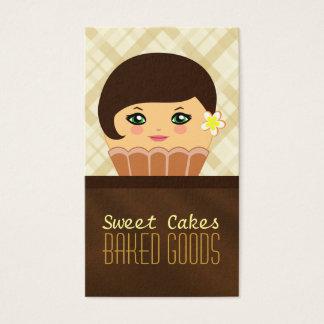 Cartão de visita castanho chocolate da padaria do