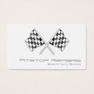 Cartão de visita Checkered branco legal da