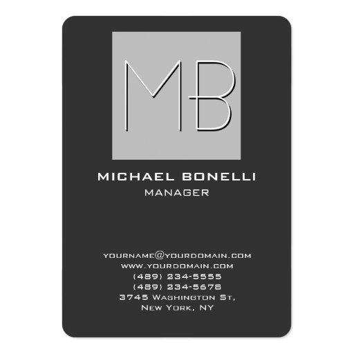 Cartão de visita cinzento carnudo do monograma do
