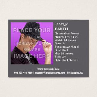 Cartão de visita cinzento do Headshot do fulgor da