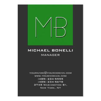 Cartão de visita cinzento do monograma da verde fl