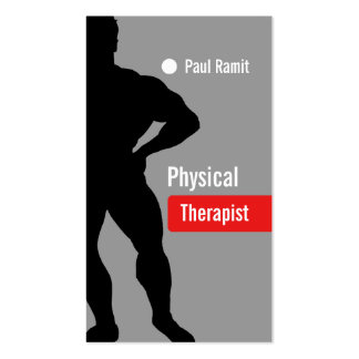 Cartão de visita cinzento vermelho do fisioterapeu
