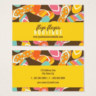 Cartão de visita colorido dos chinelos da praia do