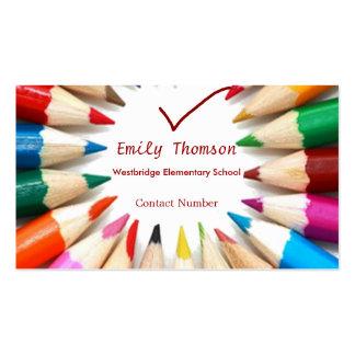 Cartão de visita colorido dos professores dos lápi