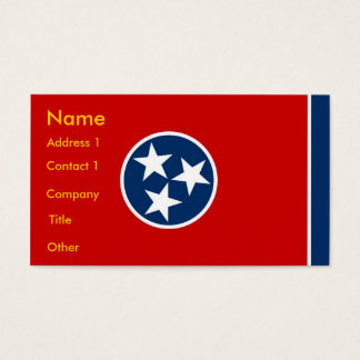 Cartão de visita com a bandeira de Tennessee EUA