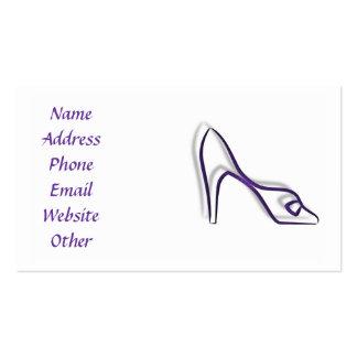 Cartão de visita com os calçados roxos da bomba