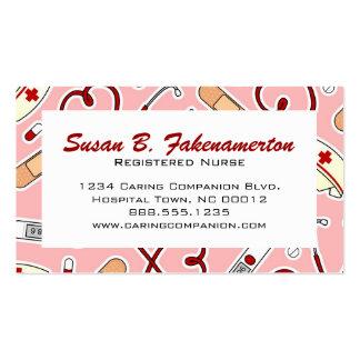 Cartão de visita cor-de-rosa bonito da enfermeira