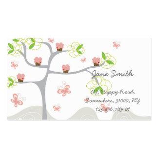 Cartão de visita cor-de-rosa bonito lunático da