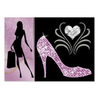 Cartão de visita cor-de-rosa da forma da versão -