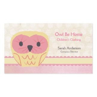 Cartão de visita cor-de-rosa do chique da coruja d