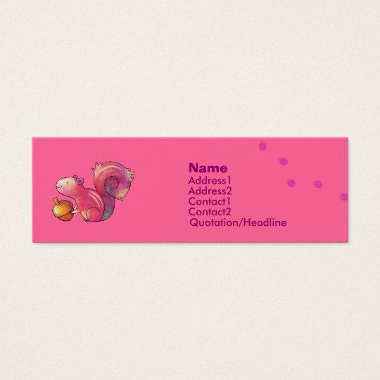 Cartão de visita cor-de-rosa do esquilo