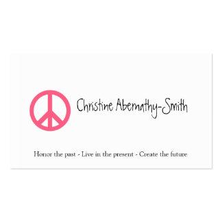 Cartão de visita cor-de-rosa do símbolo de paz