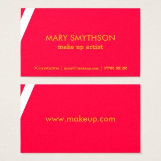 Cartão de visita cor-de-rosa e alaranjado de néon