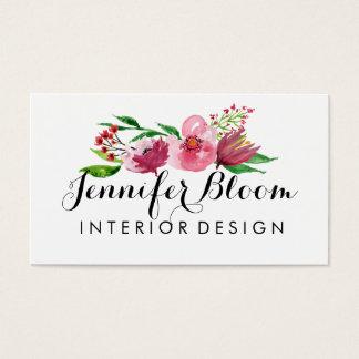 Cartão de visita cor-de-rosa e vermelho da flor da