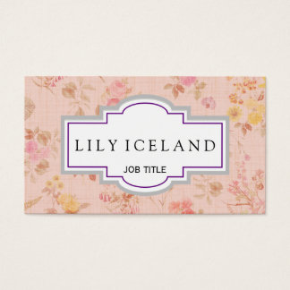 Cartão de visita cor-de-rosa floral do vintage