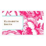 Cartão de visita cor-de-rosa floral Luxe