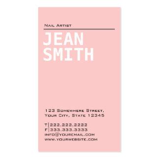 Cartão de visita cor-de-rosa liso simples da arte