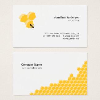 Cartão de visita da abelha e do favo de mel