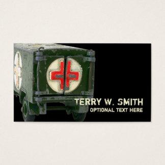 Cartão de visita da ambulância do exército