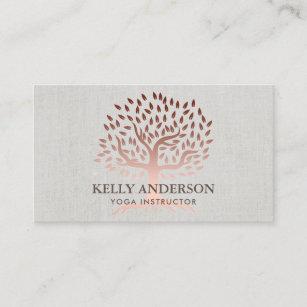 Cartão De Visita Da árvore cor-de-rosa do ouro do instrutor da ioga