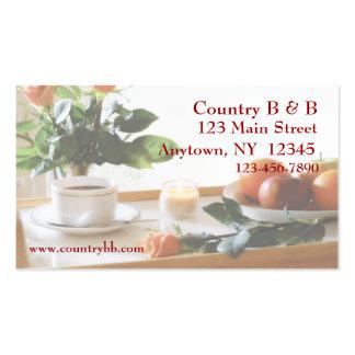 Cartão de visita da bandeja do pequeno almoço