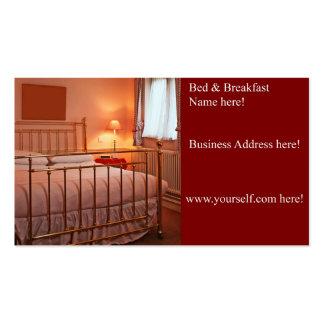 Cartão de visita da cama & do pequeno almoço