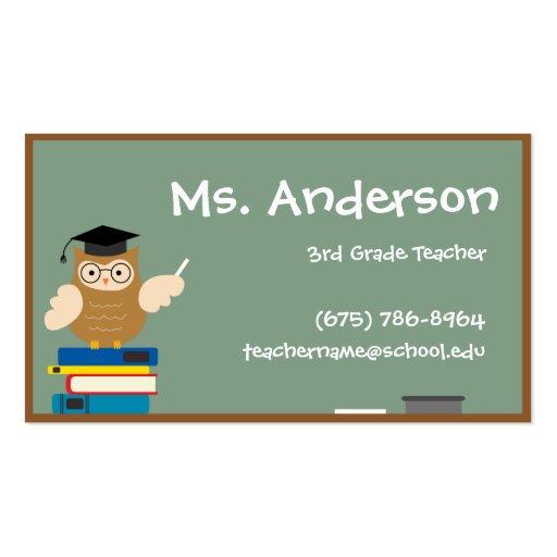 Cartão de visita da coruja do professor