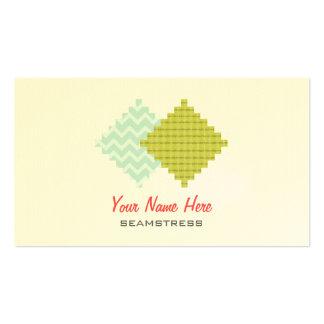 Cartão de visita da costureira - amostras de folha