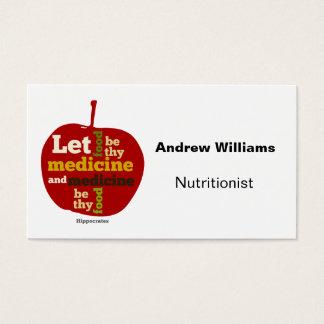 Cartão de visita da dietista do nutricionista