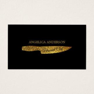 Cartão de visita da faca do brilho do ouro