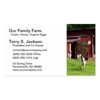 Cartão de visita da fazenda com celeiro e as cabra