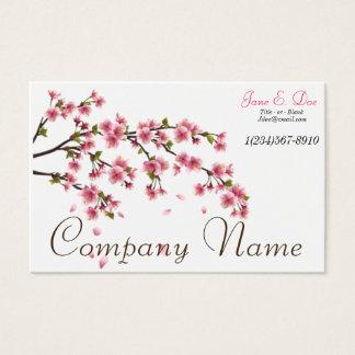 Cartão de visita da flor de cerejeira