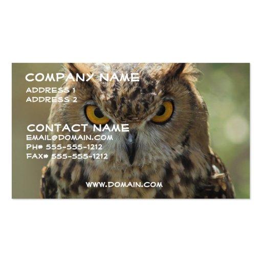 Cartão de visita da foto da coruja