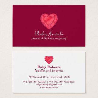 Cartão de visita da jóia da jóia do coração do