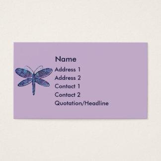 Cartão de visita da libélula do roxo e dos azuis