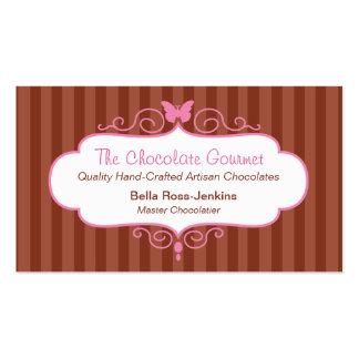 Cartão de visita da listra da loja do chocolate do