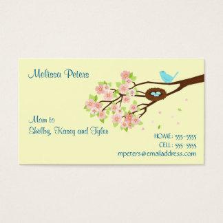 Cartão de visita da mamã da flor de cerejeira e do