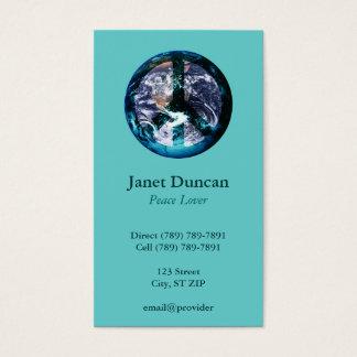 Cartão de visita da paz de mundo