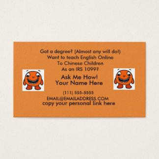 Cartão de visita da referência do professor do VIP