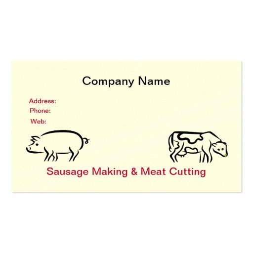 Cartão de visita da salsicha & da carne
