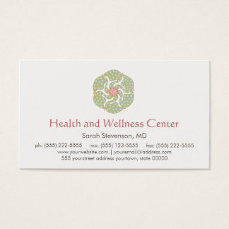 Cartão de visita da saúde e do bem-estar das artes