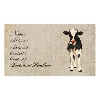 Cartão de visita da vaca do ônix & do marfim/Tag