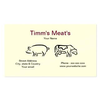 Cartão de visita das carnes do porco da vaca