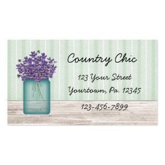 Cartão de visita das violetas do frasco de