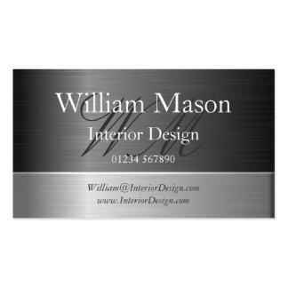 Cartão de visita de aço elegante do monograma do e